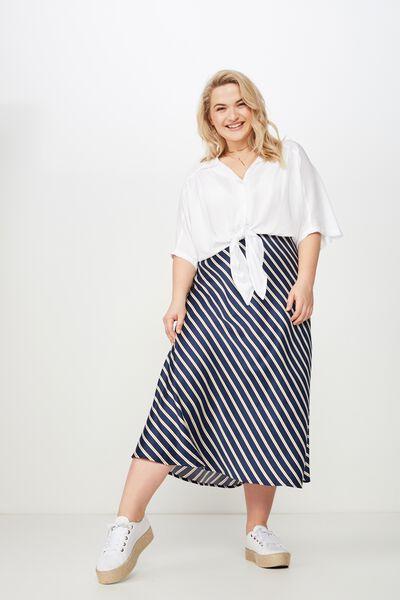 Curve Drape Skirt, JENNA STRIPE INDIGO