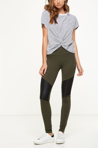 Dakota Detail Legging, JUNGLE GREEN/BLACK PU