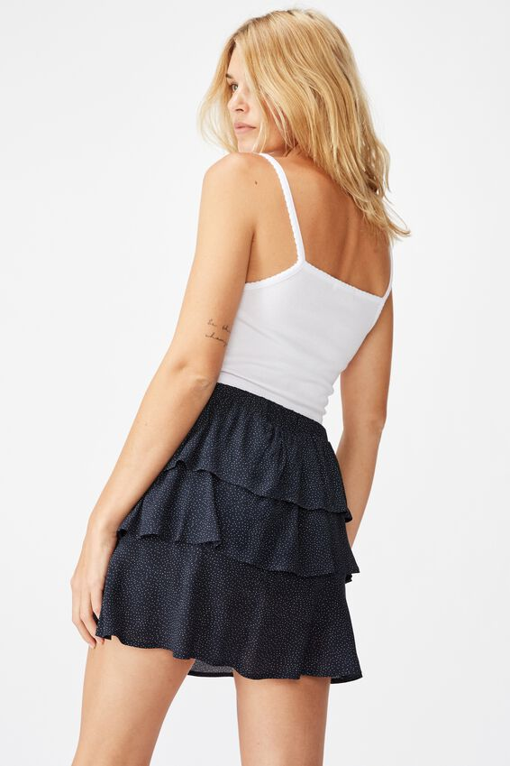 Byron Tiered Mini Skirt, ROSIE SPOT TOTAL ECLIPSE