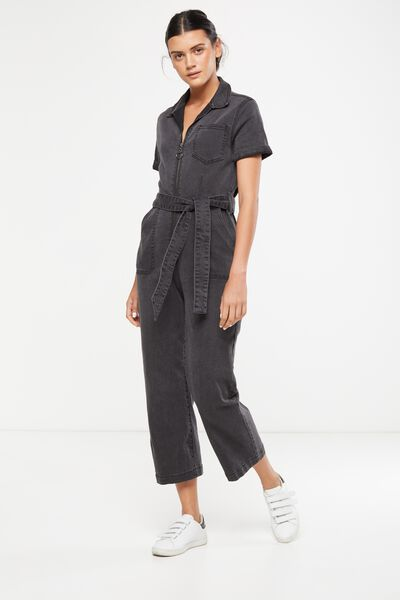 Cropped Overall, BLACK SLV