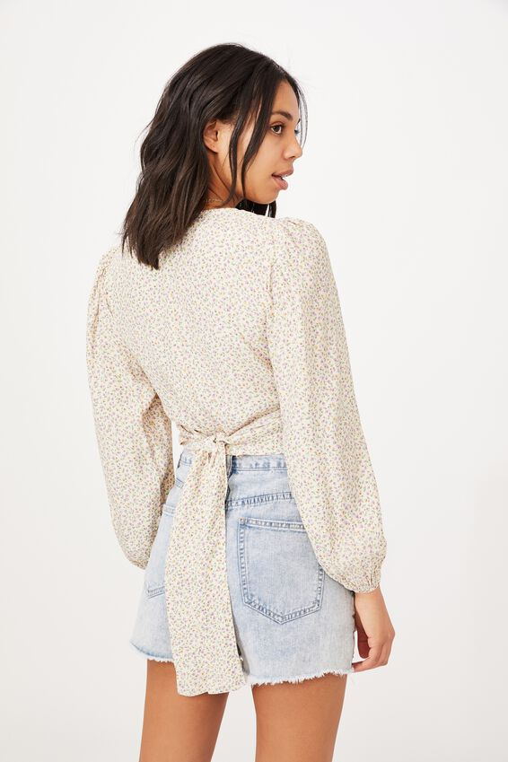 Willow Puff Sleeve Wrap Blouse, ROBYN DISTY COCONUT