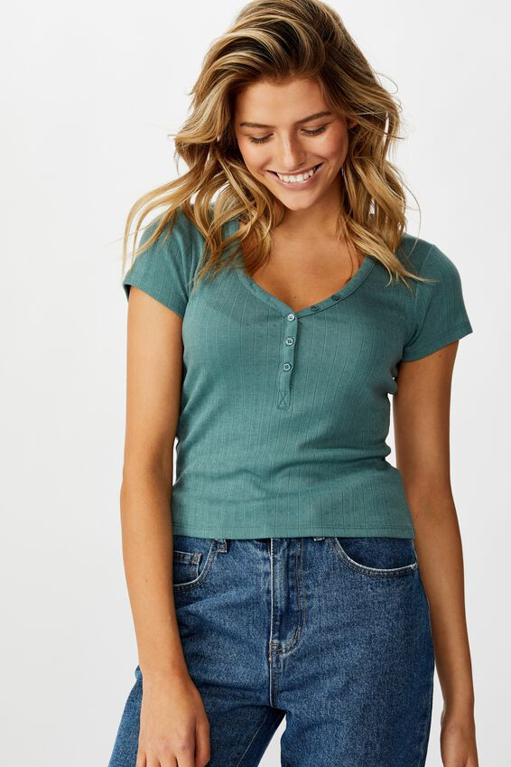Polly Button Front Short Sleeve Top, NORTH ATLANTIC