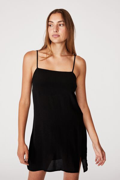 Woven Kye Strappy Mini Dress, BLACK