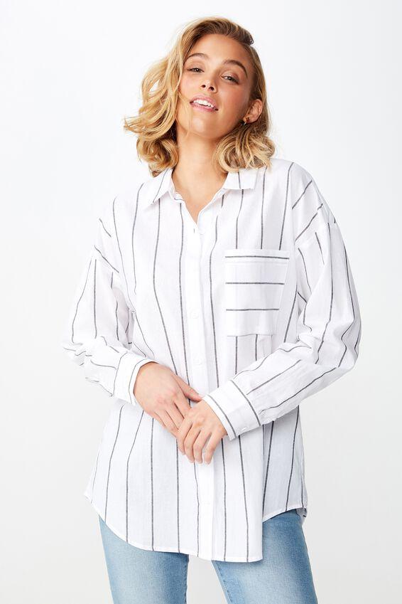 Casual Hudson Shirt, MAGGIE STRIPE WHITE/BLACK