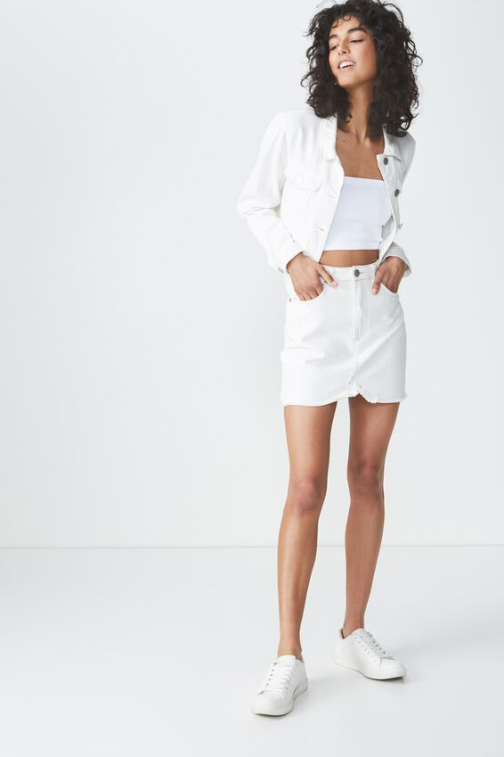 The Re-Made Mini Denim Skirt, WASHED WHITE