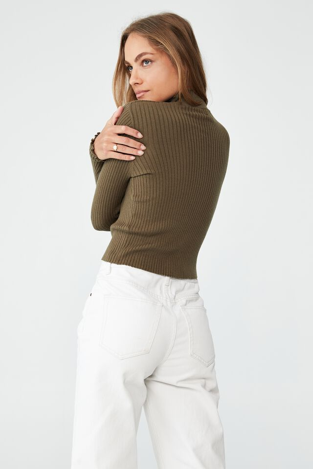 Easy Variegated Ribbed Mock Neck, DUSTY OLIVE