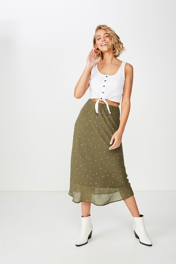 Woven Bella Bias Midi Skirt, SAMMY DITSY BURNT OLIVE