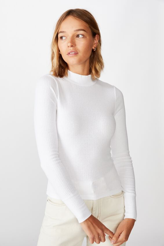 Ryder Mock Neck Long Sleeve Top, WHITE