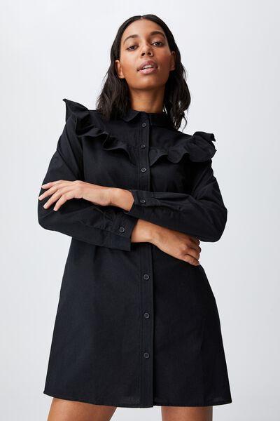 Woven Jade Long Sleeve Ruffle Shirt Mini Dress, BLACK