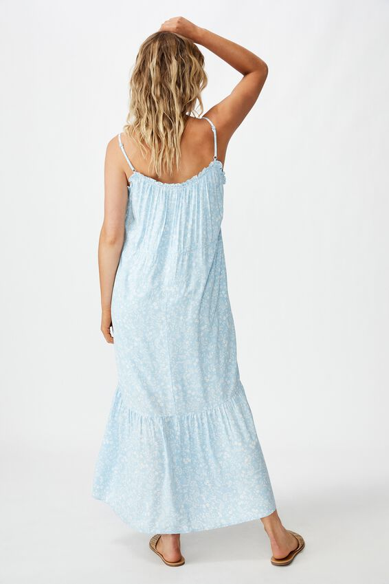 Woven Serena Straight Neck Midi Dress, BLAIR FLORAL PAISLEY CERULEAN WHITE