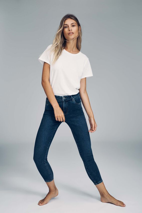High Rise Cropped Skinny Jean, COOGEE BLUE