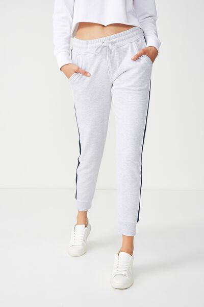 Adele Trackpant, SILVER MARLE/WHITE/MOONLIGHT PIPE