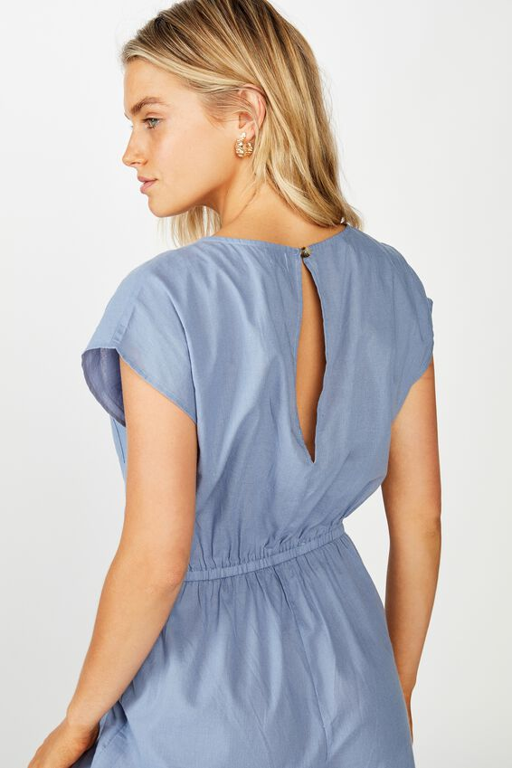 Woven Christine Check Playsuit, CHAMBRAY