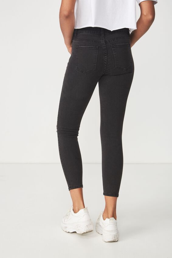 Mid Rise Cropped Skinny Jean, CORE BLACK WORN RIPS