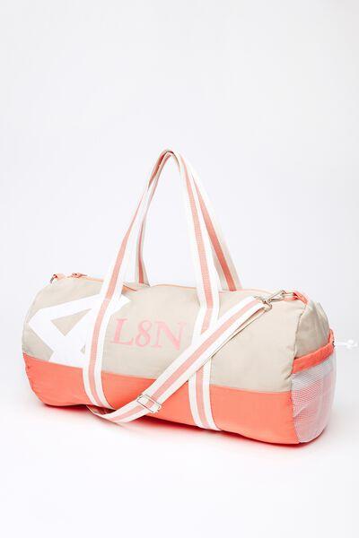 Co Barrel Bag, CORAL/STONE