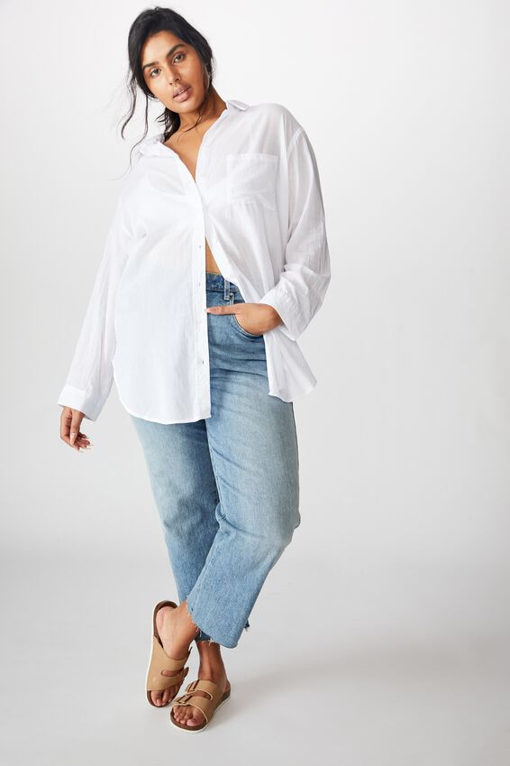 Curve Savannah Oversize Resort Shirt, WHITE