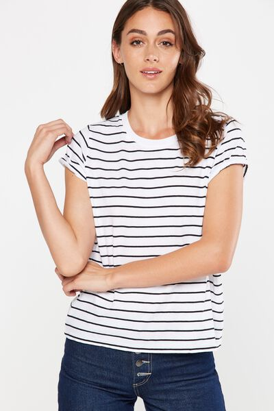 Harnie Roll Sleeve Top, WHITE/BLACK STRIPE