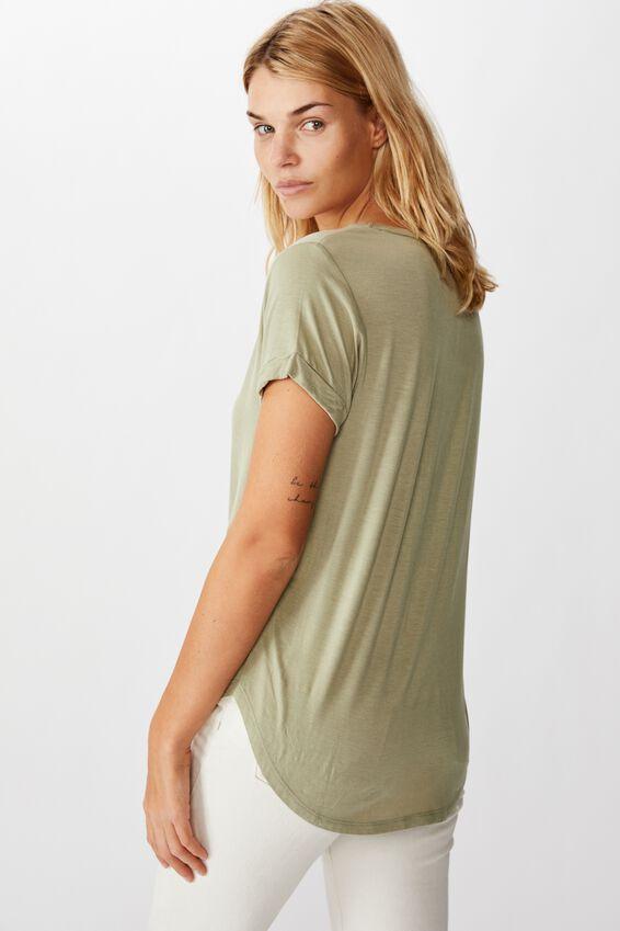 Karly Short Sleeve V Neck Top, TEA