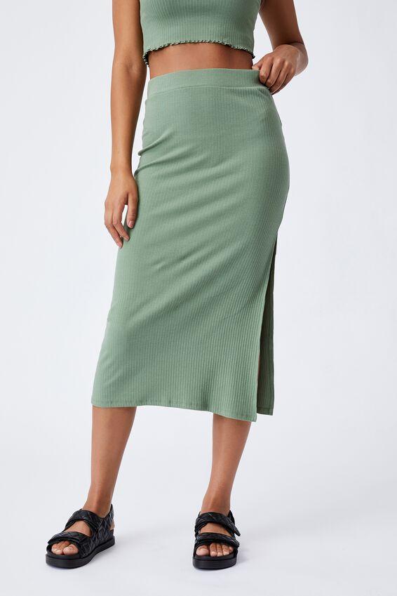 Bella Rib Midi Skirt, SOFT GREEN