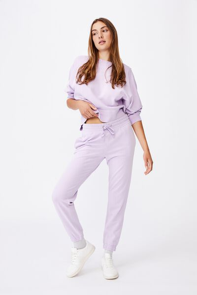 Slim Fit Trackpant, FROSTY LILAC GARMENT PIGMENT DYE