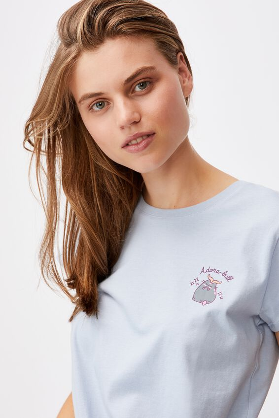 Tie Front Cny Graphic License Tee, LCN PUSH PUSHEEN ADORA-BULL/SILVER BLUE