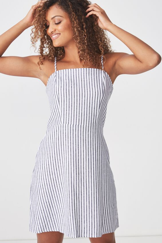Woven Krissy Dress, MILLY STRIPE NAVY/WHITE - L
