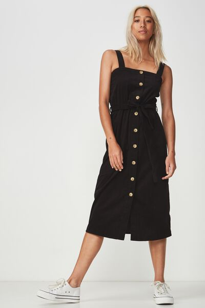 Woven Lyric Button Through Midi Dress, BLACK CORD