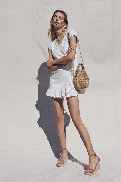 Woven Amber Short Sleeve Wrap Mini Dress, WHITE- DOBBY