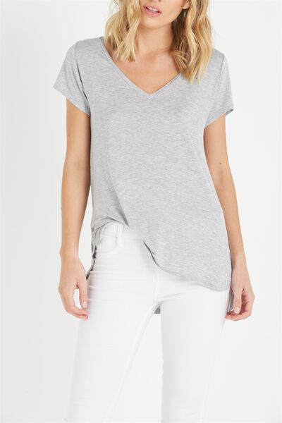 Keira Short Sleeve V-Neck T Shirt, GREY MARLE