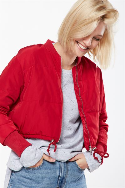 Chopped Puffer Bomber Jacket, CERISE