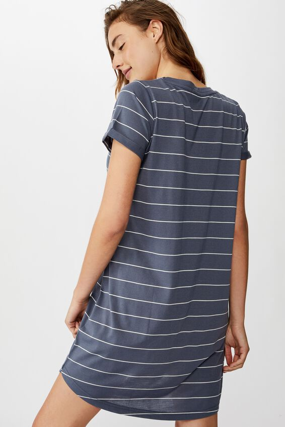 Tina Tshirt Dress 2, ELLY STRIPE GRISAILLE