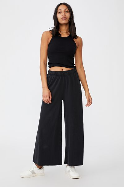 Wide Leg Lounge Track Pant, WASHED BLACK