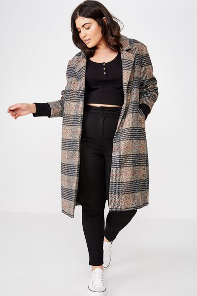 Curve Mid Length Coat, BROWN CHECK