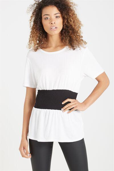 Kristy Shirred Top, WHITE/BLACK