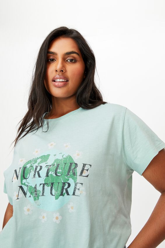 Curve Graphic Tee, NUTURE NATURE/BLUE HAZE