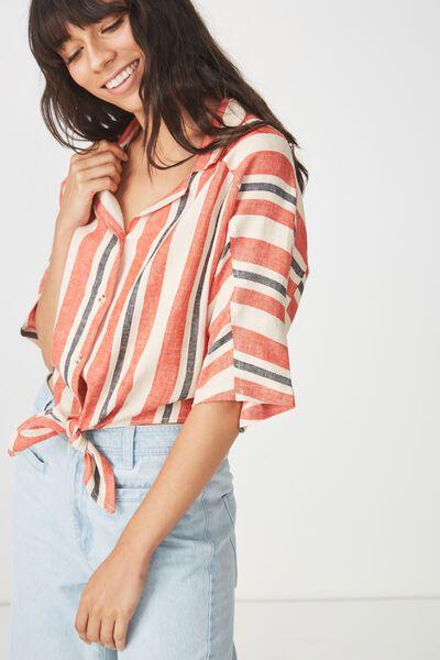 Cute Resort Shirt, DAISY STRIPE PUMPKIN