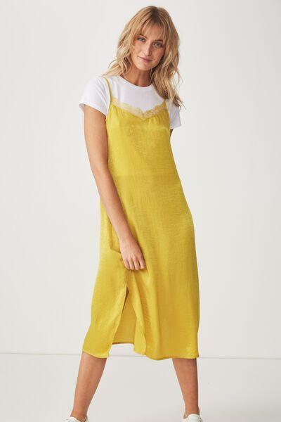 Woven Audrey Lace Midi Slip Dress, ANTIQUE MOSS