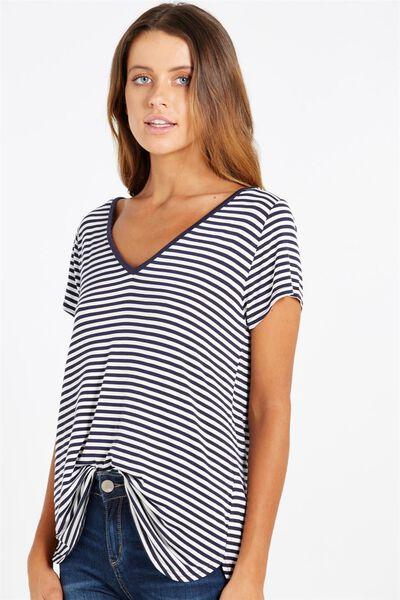 Keira Short Sleeve V-Neck T Shirt, LAURA STRIPE MOONLIGHT/WHITE