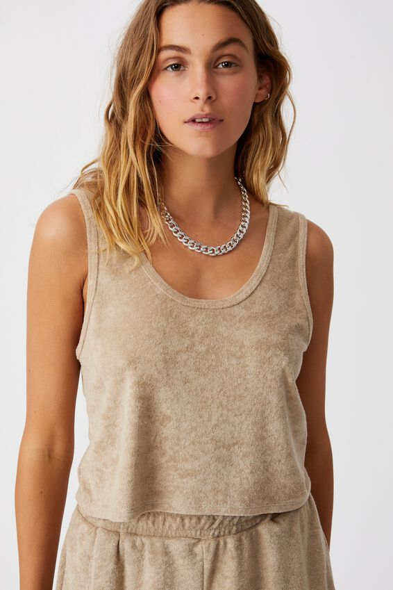 Terry Towelling Tank, FLAX GREY