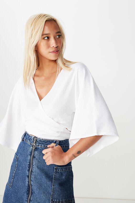Jude Kimono Sleeve Top, WHITE TEXTURE
