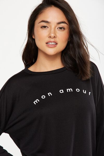 Side Split Crew Long Sleeve Top, MON AMOUR/BLACK