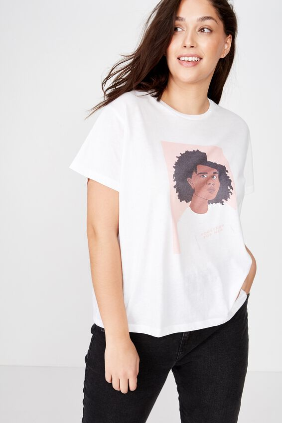 Curve Girl Up Tee, TOGETHER FOR HER SKETCH/WHITE