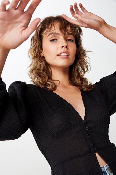 Hazel Blouson Sleeve Blouse, BLACK