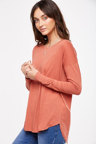 Kelly Long Sleeve Top, WASHED REDWOOD