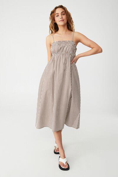 Woven Petite Pippa Midi Dress, SHANNON STRIPE ACORN
