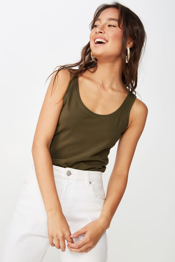 Everyday Fitted Tank, UTILITY KHAKI