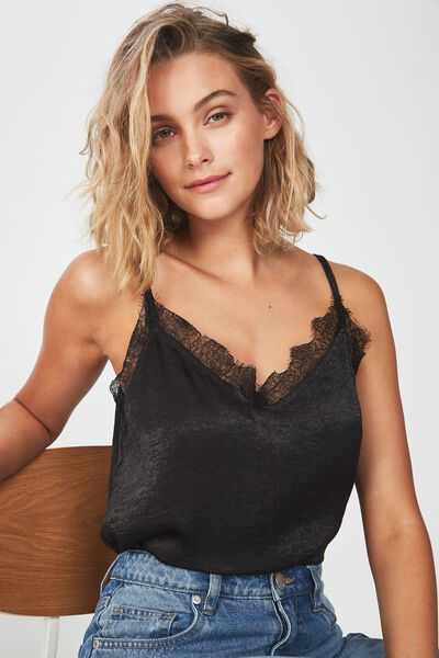 Ariel Lace Cami, BLACK