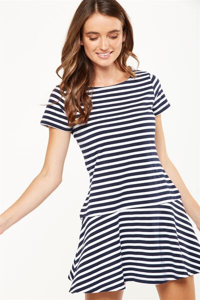 Suki Fit And Flare Dress, MOONLIGHT/WHITE PARKER STRIPE