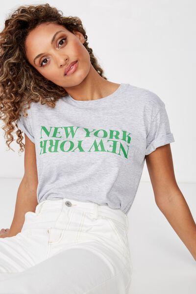 Classic Slogan T Shirt, NEW YORK NEW YORK/GREY MARLE
