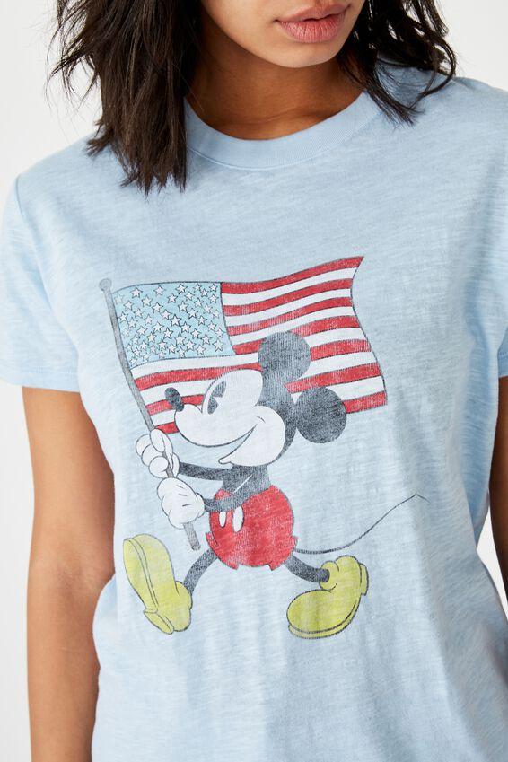 Classic Mickey And Co T Shirt, LCN DIS MICKEY FLAG/CHAMBRAY BLUE SLUB